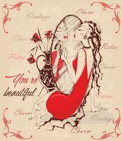 Retro-Stil. Weinlesepostkarte. Die Dame im Spiegel. Inschriften. Du bist wunderschön. Charme. Vektor