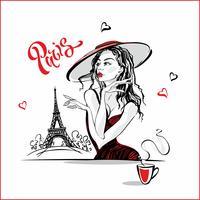 Das Mädchen im Hut Kaffee trinkend. Fotomodell in Paris. Eiffelturm. Romantische Komposition. Elegantes Modell im Urlaub. Tourismus Industrie. Vektor.