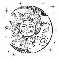 Månen och solen. Forntida astrologisk symbol. Gravyr. Boho Style. Etnisk. Zodiacens symbol. Mystisk. Färg. Vektor.