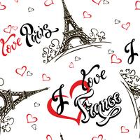 Sömlöst mönster. Jag älskar Paris. Jag älskar Frankrike. Snygg bokstäver. Hjärtan. Eiffeltornet. Skiss. Vit bakgrund. Segrare