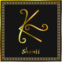 Karuna Reiki. Energihälsa. Alternativ medicin. Shanti Symbol. Andlig övning. Esoterisk. Gyllene. Vektor