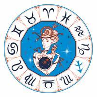 Stjärntecken Skytten En vacker tjej. Horoskop. Astrologi. Vektor.