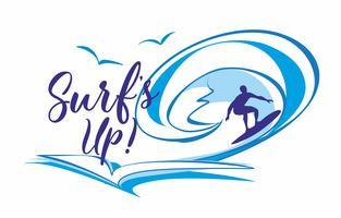 Surfa är upp. Surfa. Text. ILogo. Det är dags att vila och resa. Seascape. Våg. Måsar. Vektor illustration.