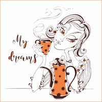 Tjej dricker te. Flickan drömmar om. Min dröm. Text. Orange Tekanna och Cup. Vektor illustration.