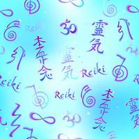 Nahtlose Grenze mit Reiki-Energiesymbolen. Esoteriker. Energieheilung. Alternative Medizin. Vektor