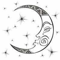 Måne. Månad. Forntida astrologisk symbol. Gravyr. Boho Style. Etnisk. Zodiacens symbol. Esoterisk mystisk. Färg. Vektor.