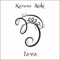 Karuna Reiki. Energieheilung. Alternative Medizin. Iava-Symbol. Spirituelle Praxis. Esoterisch. Vektor