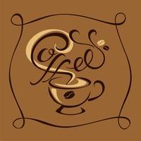 Kaffe. Text. Logotypen. handgjord ritning. Vektor.