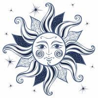 Sol. Vintagestil. Astrologi. Etnisk. Hednisk. Boho Style. Vektor. vektor