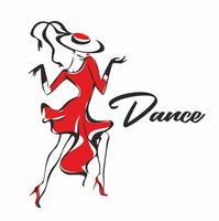 Tjej i en röd klänning dansande. Flickan i hatten. Dans. Roligt. Vektor.