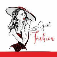 Tjej mode. Text. Skiss. Elegant tjej i en hatt och baddräkt poserar. Mode- och skönhetsindustrin. Vektor.