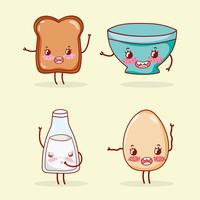 Niedliche kawaii Karikaturen der Frühstückssammlung