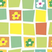 Sömlöst mönster. Mosaik. Blommig. Mjuk tecknadbakgrund. Patchwork. Vektor. vektor