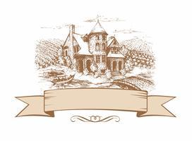 Skiss av slottet. Formad banner. Landskap. Vektor illustration.