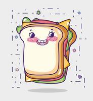 Sandwich söt kawaii tecknad film vektor
