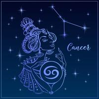 Zodiac tecken Cancer som en vacker tjej. Constellation Of Cancer. Natthimlen. Horoskop. Astrologi. Vektor.