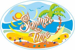 Sommerzeit. Beschriftung. Gruß. Sonne, Möwen. Sonnenhut und Sonnenbrille. Meer und Palmen. Gestaltungskonzept für den Tourismus. Vektor.