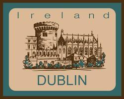 Dublin slott. Skiss. Dublin. Irland. För rese- och turistindustrin. Reklamdesign. Vektor illustration.