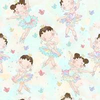 Liten ballerina tjej dansar med en björn. Jag älskar att dansa. Inskrift. Vektor