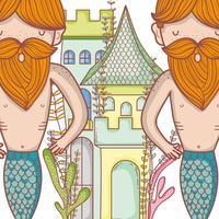 Niedliche Cartoons der kleinen Meerjungfrauen vektor