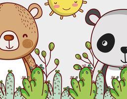 Bären in Waldgekritzelkarikaturen