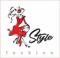 Das Mädchen zeigt ihre Kleider. Model. Style.Inscription. Design für die Schönheitsindustrie. Die Dame mit dem Hut und dem roten Kleid. Vektor.