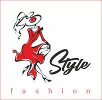 Tjejen visar upp sina kläder. Modell. Style.Inscription. Design för skönhetsindustrin. Damen i mössan och den röda klänningen. Vektor.
