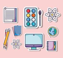 Set Bildung Schulutensilien Symbole vektor