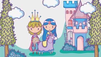 Zeichnungs-Karikaturmann Prinzessin und Prinzessin netter Handmit Sonnenbrille und Dollarsymbol innerhalb der Chatblase vektor