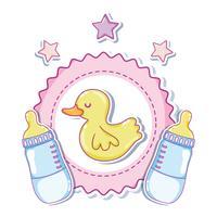 Niedliche Entenkarikaturen mit Babyflaschen