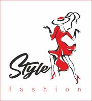 Modell. Trendig stil. Högmode. Flickan i den röda klänningen. Vektor.
