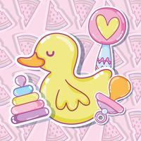 Süße Ente mit Spielzeug vektor