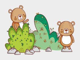 Björnar i skogen klotter tecknade vektor