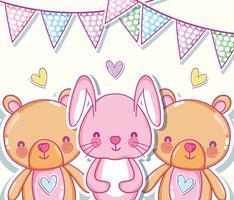 Söt kanin och björnar tecknade vektor