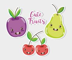 Gulliga frukter tecknade vektor