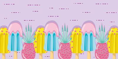 Punchy Pastell Popsicle Früchte vektor
