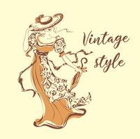 Vacker tjej i en hatt. Vintagestil . Lady i retroklänning. Paraply från solen. Boka grafik. Bokomslag. Romantisk feminin bild. Vektor illustration.