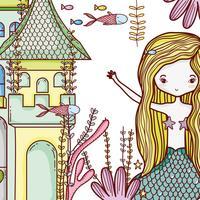Meerjungfrau auf niedlichem Cartoon des Schlosses vektor