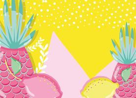 Punchy Pastell Ananas und Zitronen vektor