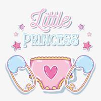 Lite prinsessabarnflickakort vektor