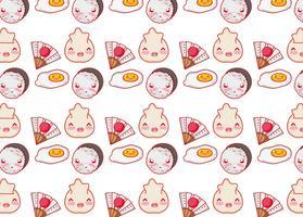 Kawaii Karikaturen des japanischen Gastronomiehintergrundes