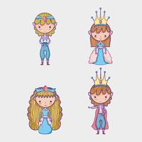 Prinzessin und Prinzessinkarikaturmann mit Sonnenbrille und Dollarsymbol innerhalb der Chatblase vektor