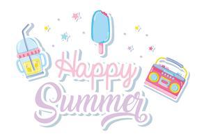 Happy Summer druckvolle Pastelle vektor