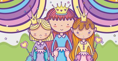 Kleine Prinzessin niedlichen Cartoon vektor