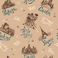Sömlöst mönster. Länder och städer. Text. Skisser. Landmärken. Resa. Bulgarien, Tjeckien, Las Vegas, Irland, Frankrike, Spanien. Vektor