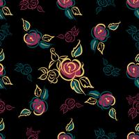 Sömlöst mönster. Blomtryck. Roses. buketter. Dekorativ. Svart bakgrund. Vektor.
