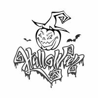 Halloween. magische, bedrohliche Schrift. Postkartenfarbton für Allerheiligen. Karikaturkürbismonster in einem Hexenhut. Vektor.