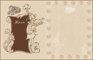 Meny för kaféet. Kock och katt kock i tecknad stil. Smaklig måltid. Text. Vintagestil. Vektor illustration.