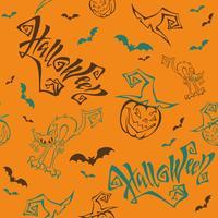 Sömlöst mönster. Halloween. Text. Rolig tecknad pumpa monster i häxa hatt. Fladdermus. Cat monster. Orange bakgrund. Vektor.
