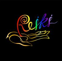 Reiki-Energie. Logo. Heilende Energie. Alternative Medizin. Spirituelle Praxis. Vektor.